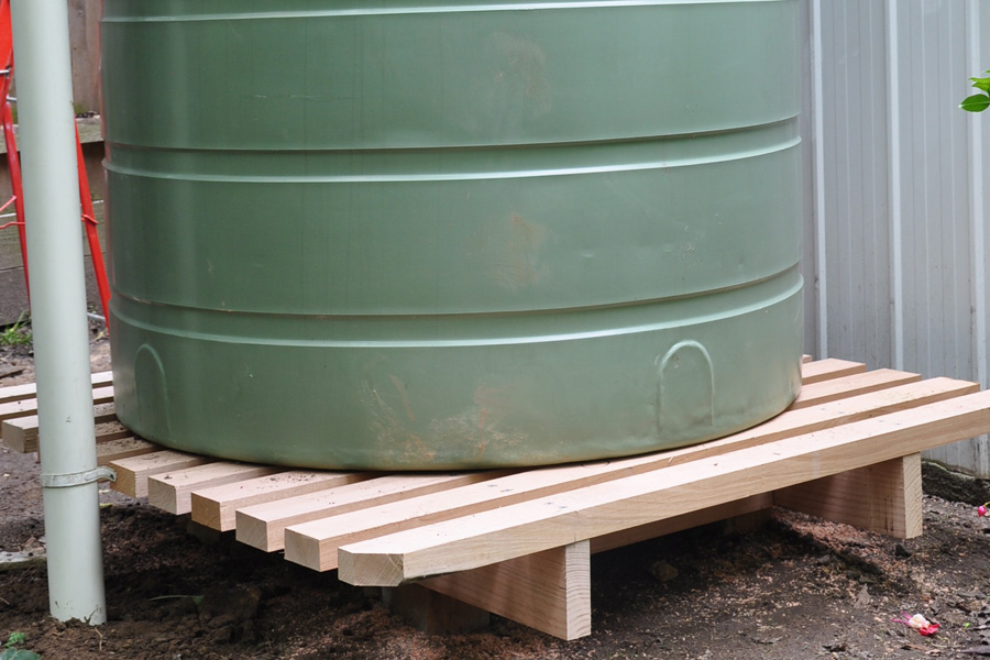 Rainwater tank stand installed